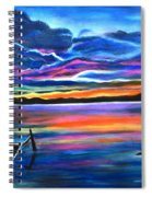 Left Alone A Seascape Boat Painting At Sunset  Spiral Notebook