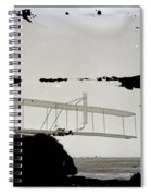 Left View Of Wilbur Gliding Kitty Hawk Lifesaving Station And Weather Bureau Buildings In Distance K Spiral Notebook