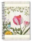 Les Magnifiques Fleurs I - Magnificent Garden Flowers Parrot Tulips N Indigo Bunting Songbird Spiral Notebook
