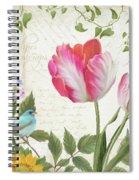 Les Magnifiques Fleurs IIi - Magnificent Garden Flowers Parrot Tulips N Indigo Bunting Songbird Spiral Notebook