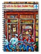 Les Scenes De Pointe St Charles Les Produits Smoked Meat Avec Partie De Hockey Spiral Notebook