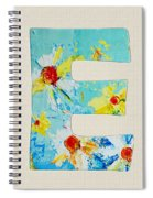 Letter E - Roman Alphabet - A Floral Expression, Typography Art Spiral Notebook