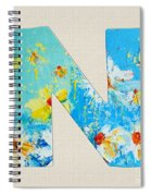 Letter N Roman Alphabet - A Floral Expression, Typography Art Spiral Notebook