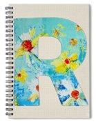 Letter R Roman Alphabet - A Floral Expression, Typography Art Spiral Notebook