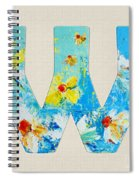 Letter W Alphabet A Floral Expression Spiral Notebook