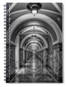 Library Of Congress Building Hallway Bw Spiral Notebook
