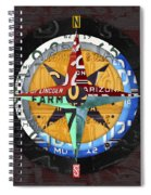 License Plate Compass North South East West Road Trip Letters On Old Red Barn Wood Spiral Notebook