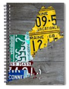 License Plate Map Of New England States Spiral Notebook