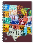 License Plate Map Of The United States Spiral Notebook