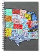 License Plate Map Of The United States Edition 2016 On Steel Background Spiral Notebook