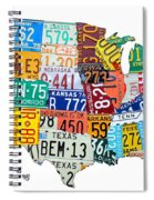 License Plate Map Of The United States Outlined Spiral Notebook