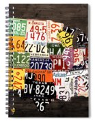 License Plate Map Of The United States - Warm Colors / Black Edition Spiral Notebook