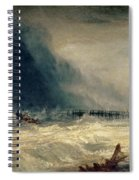 Lifeboat And Manby Apparatus Going Off To A Stranded Vessel Making Signal Of Distress Spiral Notebook
