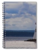 Lighthouse And A Sail Boat In Nova Scotia Spiral Notebook