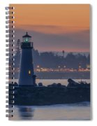 Lighthouse And Wharf At Dusk Spiral Notebook