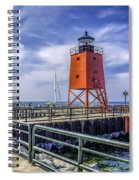 Lighthouse At Charlevoix South Pier  Spiral Notebook