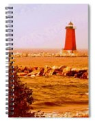 Lighthouse Manistique Retro Pano Spiral Notebook