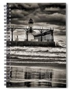 Lighthouse Reflections In Black And White Spiral Notebook