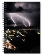 Lightning During A Thunderstorm On The Island Of Santorini, Greece Spiral Notebook