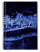 Lights On The Farm's Pond At Night Spiral Notebook