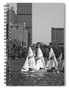 Line Of Boats On The Charles River Boston Ma Black And White Spiral Notebook