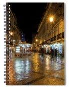 Lisbon Portugal Night Magic - Nighttime Shopping In Baixa Pombalina Spiral Notebook