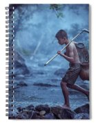 Little Asian Kid Fishing In The River Countryside Thailand. Spiral Notebook