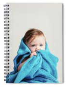 Little Baby Girl Tucked In A Cozy Blue Blanket. Spiral Notebook