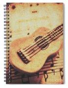 Little Carved Guitar On Sheet Music Spiral Notebook