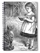 Little Girl Gives Her Cat Its Dinner Spiral Notebook