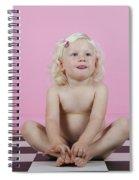 Little Girl Sits On A Checkered Floor Spiral Notebook