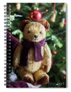 Little Sweet Teddy Bear With Knitted Scarf Under The Christmas Tree Spiral Notebook