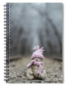 Little Teddy Bear Sitting In Knitted Scarf And Cap In The Winter Forest Between The Rails Spiral Notebook
