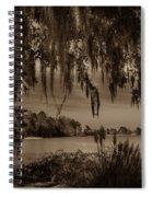 Live Oak Tree Spanigh Moss Sepia Silhouette Spiral Notebook
