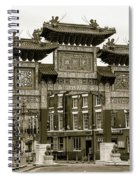 Liverpool Chinatown Arch, Gate Sepia Spiral Notebook