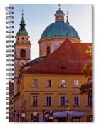 Ljubljana Church And Square Sunset View Spiral Notebook