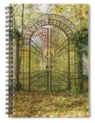Locked Iron Gate In The Autumn Park.  Spiral Notebook