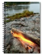 Log On Fire Manitoba Lake Wilderness Spiral Notebook