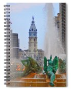 Logan Circle Fountain With City Hall In Backround 3 Spiral Notebook