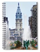 Logan Circle Fountain With City Hall In Backround Spiral Notebook