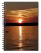 Lone Fisherman At Sunset Spiral Notebook