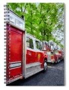 Long Line Of Fire Trucks Spiral Notebook