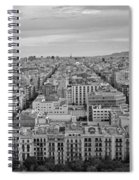 Looking Down On Barcelona From The Sagrada Familia Black And White Spiral Notebook
