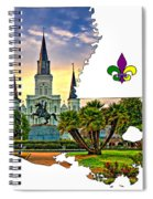 Louisiana Map - St Louis Cathedral Spiral Notebook