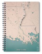 Louisiana State Usa 3d Render Topographic Map Neutral Border Spiral Notebook