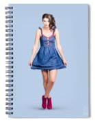 Lovable Eighties Female Pin-up In Denim Dress Spiral Notebook