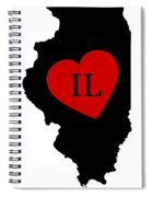 Love Illinois Black Spiral Notebook