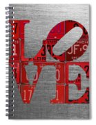 Love Sign Philadelphia Recycled Red Vintage License Plates On Aluminum Sheet Spiral Notebook