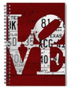 Love Sign Vintage License Plates On Red Barn Wood Spiral Notebook