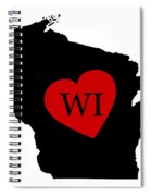 Love Wisconsin Black Spiral Notebook